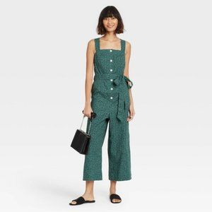 A New Day Teal Sleeveless Button-Front Jumpsuit